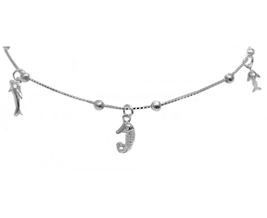 Sterling Silver Anklet with Sea Life Charms
