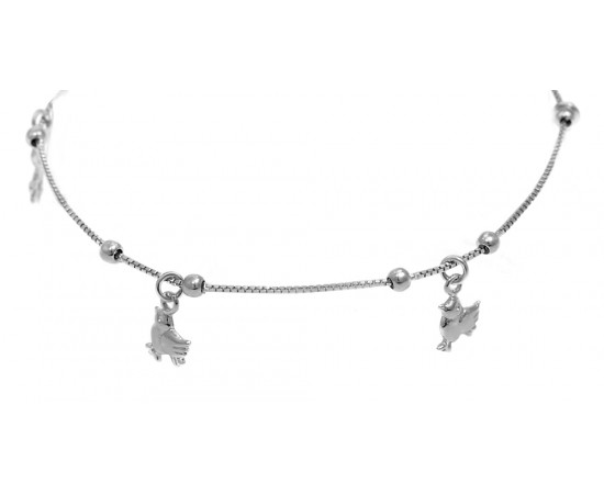 Sterling Silver Anklet with Tiny Animal Charms
