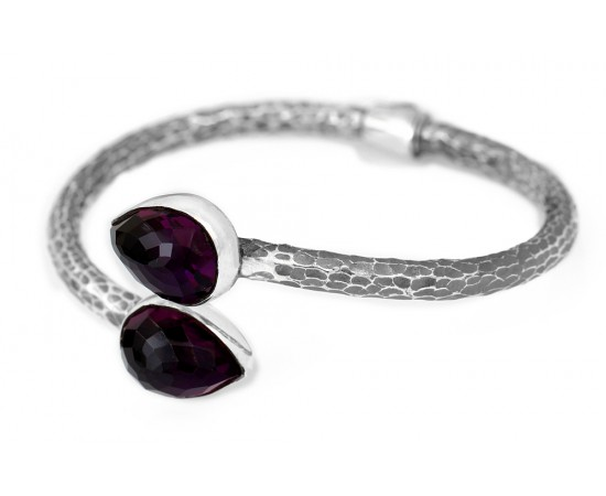 Natural Amethyst Greek Bangle Bracelet