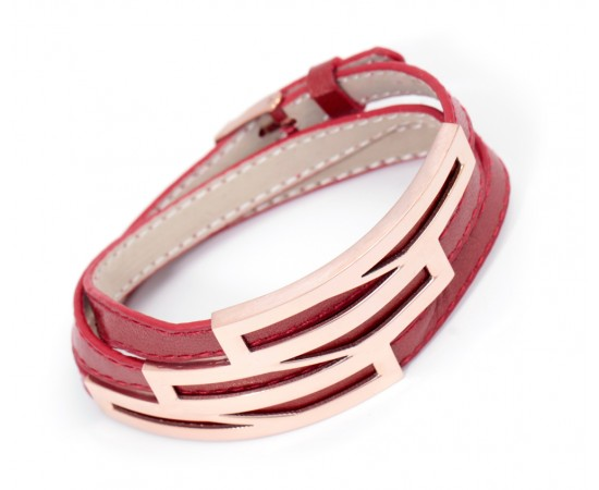 Red and Snakeskin Pattern Leather Wrap Bracelet
