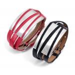 Women s Stainless Steel Leather Wrap Bracelet by Evil Eye Store