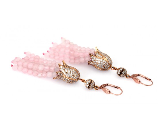 Tulip Earrings with Pink Opal CZ Stones