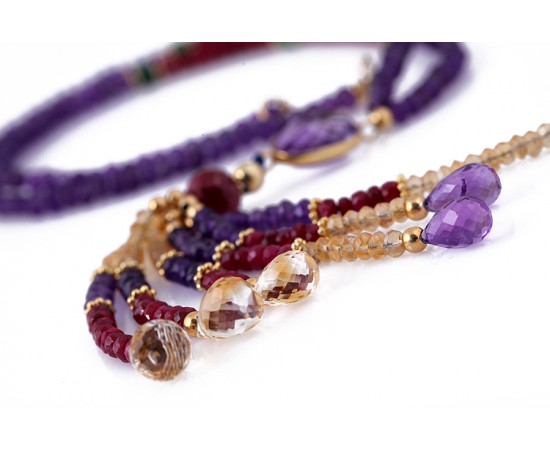 Amethyst Ruby Citrine Necklace