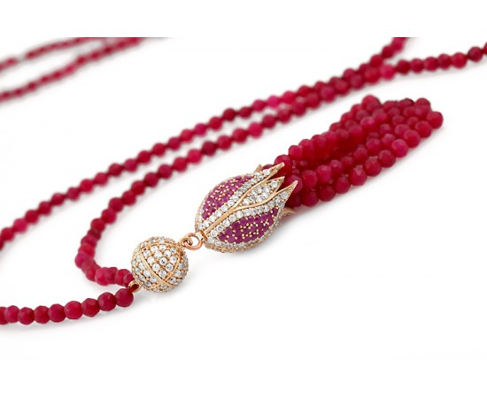 Tulip Necklace with Ruby and CZ Stones