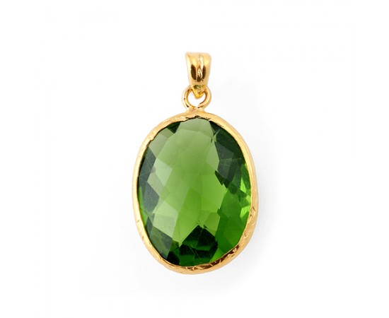 Gold Plated Silver Emerald Pendant