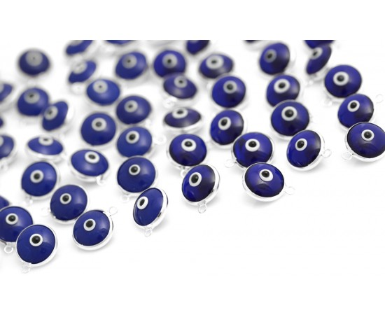 Silver Evil Eye Beads Blue Double Sided - 50 pcs