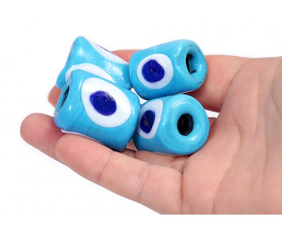 Big Cylinder Evil Eye Beads - 10 pcs