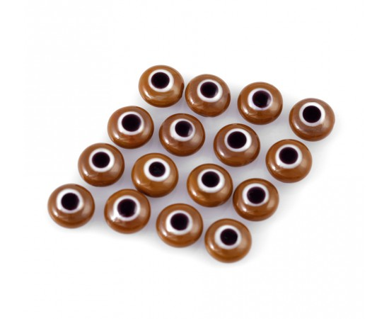 Evil Eye Beads Brown Double Sided Without Hole - 50 pcs