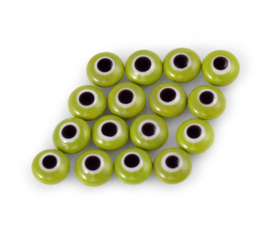 Evil Eye Beads Green Double Sided Without Hole - 50 pcs