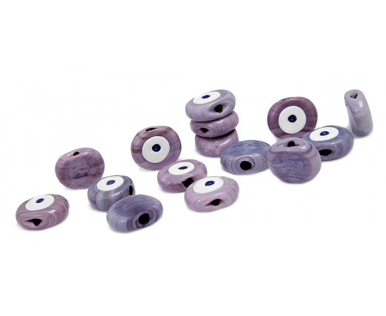 Evil Eye Beads Lilac One Sided - 15 pcs