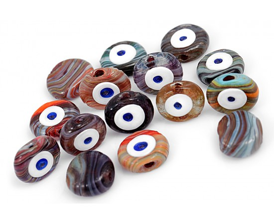 Evil Eye Beads Mixed Nature Colors One Sided - 15 pcs