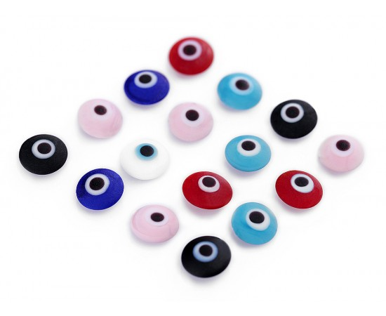 Evil Eye Beads Multicolor Matte Double Sided Without Hole - 50 pcs