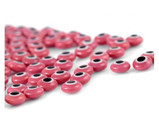 Evil Eye Beads Pink Double Sided Without Hole - 50 pcs