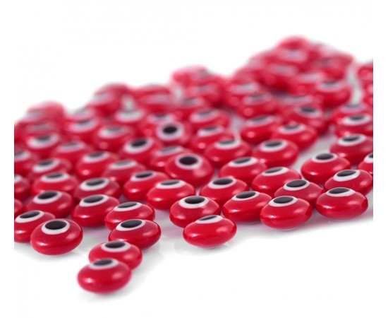 Evil Eye Beads Red Double Sided Without Hole - 50 pcs