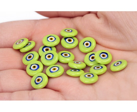Flat Evil Eye Beads Green Double Sided Without Hole - 15 pcs
