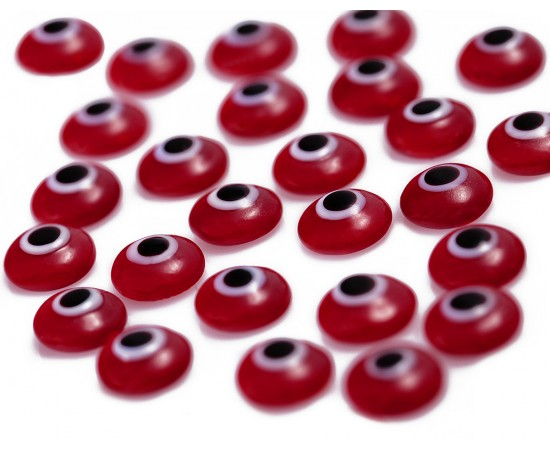 One Sided Eye Beads Red - 50 pcs