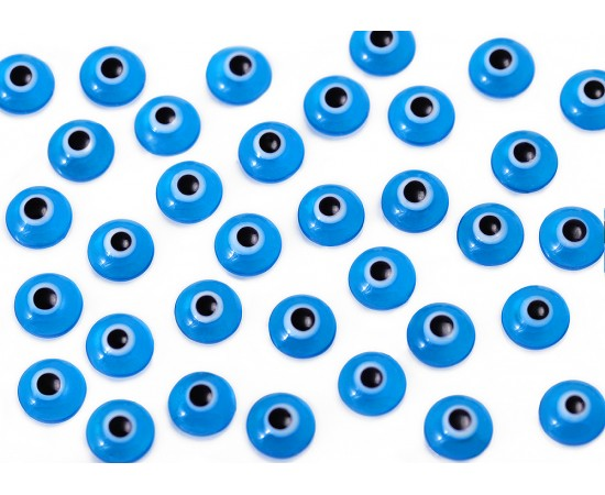 One Sided Eye Beads Transparent Blue - 50 pcs