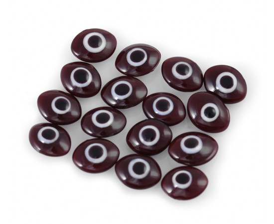Oval Evil Eye Beads Dark Brown Double Sided Without Hole - 50 pcs