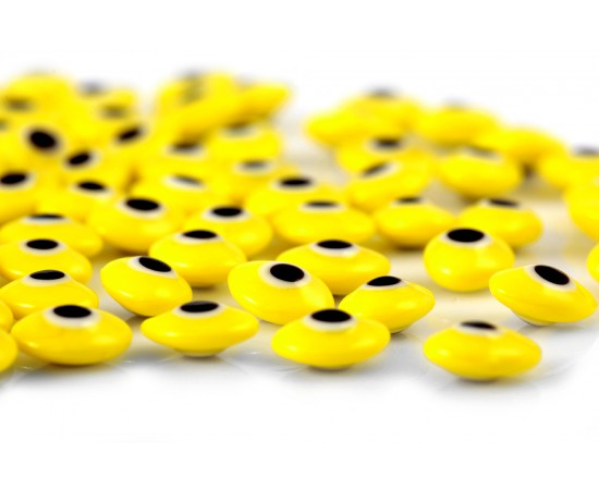 Oval Evil Eye Beads Yellow Double Sided Without Hole - 50 pcs