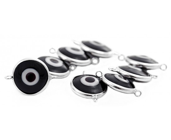 Silver Evil Eye Beads Black Double Hook - 20 pcs