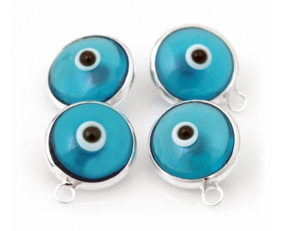 Silver Evil Eye Beads Blue Double Sided One Hook - 50 pcs