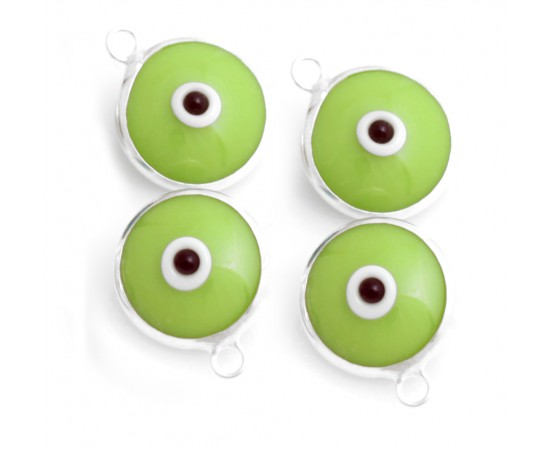 Silver Evil Eye Beads Green Double Sided - 50 pcs