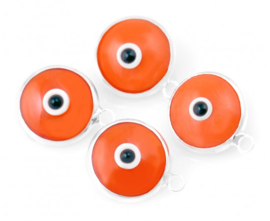Silver Evil Eye Beads Orange Double Sided - 50 pcs