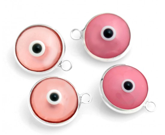 Silver Evil Eye Beads Pink Double Sided - 50 pcs
