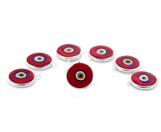 Silver Evil Eye Beads Red Double Hook - 20 pcs