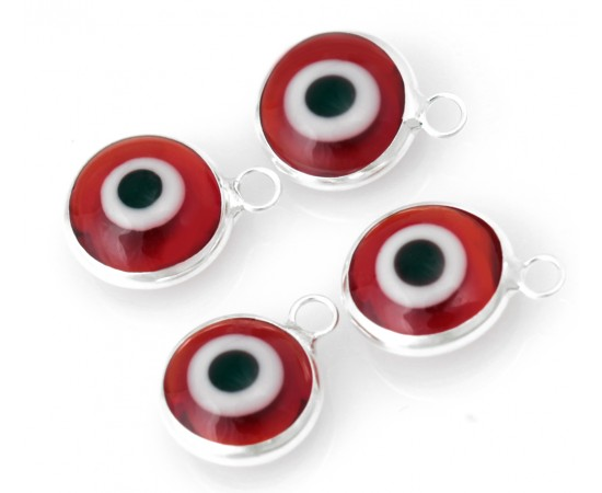 Silver Evil Eye Beads Red Double Sided - 50 pcs