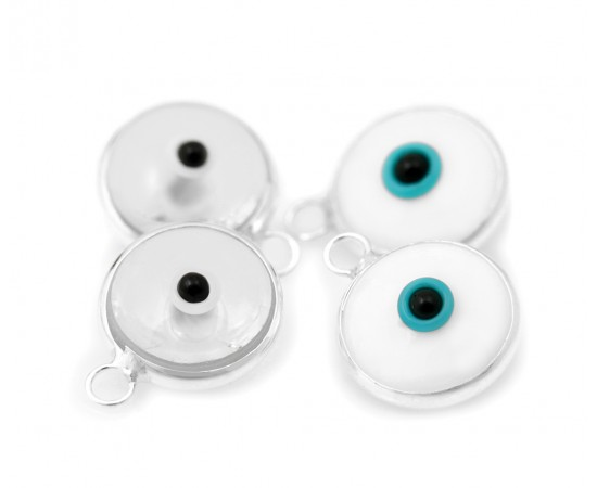 Silver Evil Eye Beads White Double Sided - 50 pcs