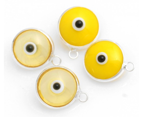 Silver Evil Eye Beads Yellow Double Sided - 50 pcs