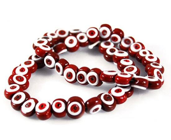 Tiny Red Evil Eye Beads Double Sided - 50 pcs