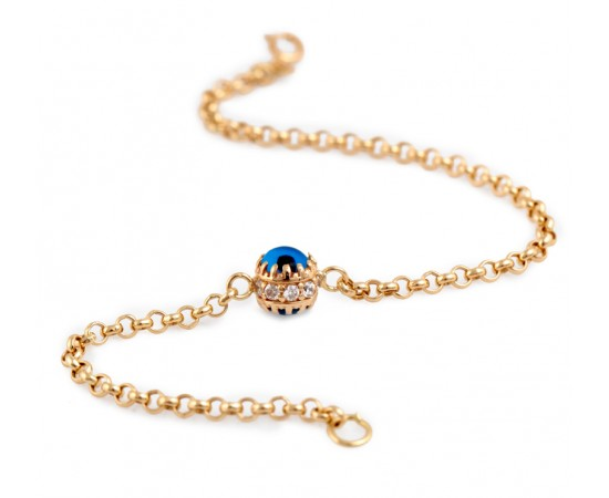 14K Gold Evil Eye Bracelet with Pave Czs