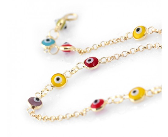 Multicolor Gold Evil Eye Bracelet