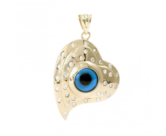14K Gold Heart Evil Eye Pendant