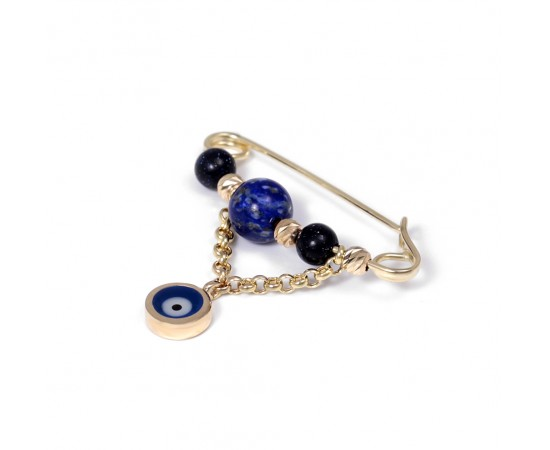 14K Gold Safety Pin with Evil Eye