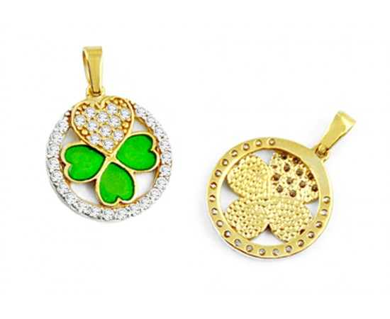 Clover and Heart Gold Pendant