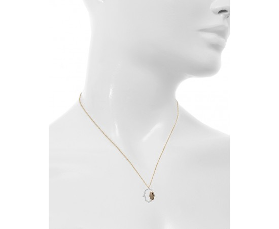 Hamsa Hand Gold Necklace with Cz Stones