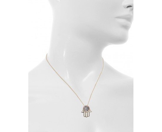 Gold Evil Eye Hamsa Necklace with Cz Stones