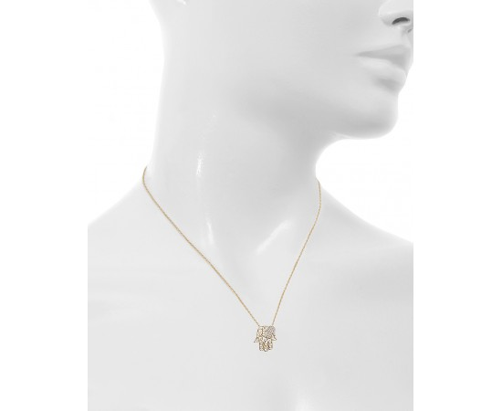 Gold Hamsa Necklace with Cz Stones
