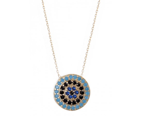 Greek Evil Eye Necklace with Nano Turquoise Stones
