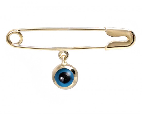 Safety Pin Brooch with Glass Evil Eye Charm