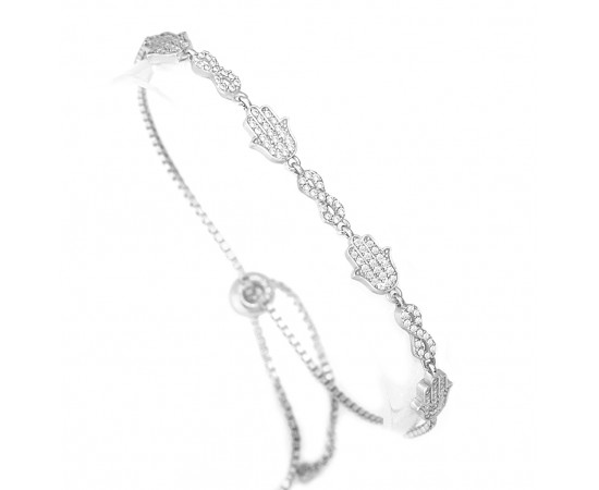 Adjustable Sterling Silver Infinity Hamsa Bracelet