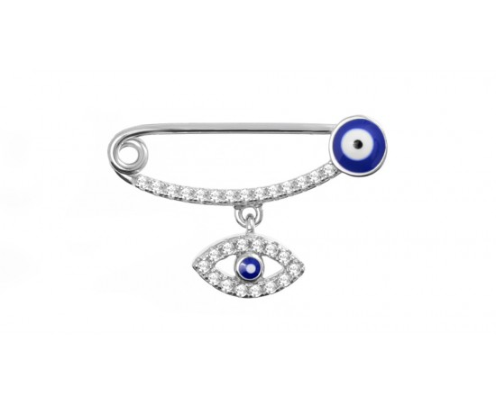 Baby Pin with Evil Eye Charm
