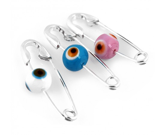 Diaper Pin with Evil Eye Bead