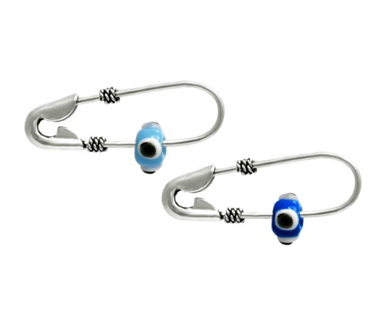 Silver Safety Pin with Evil Eye Bead