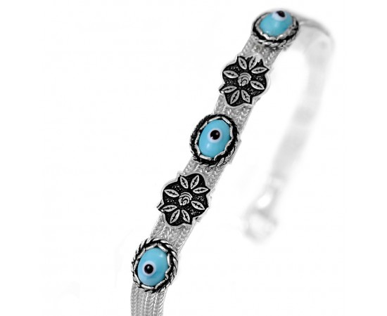 Antique Style Greek Evil Eye Bracelet