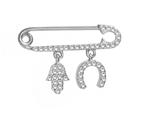 Baby Pin with Protection Hamsa with Horseshoe Charms