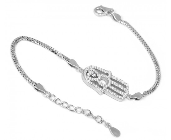 Double Chain Hand of Fatima Evil Eye Bracelet